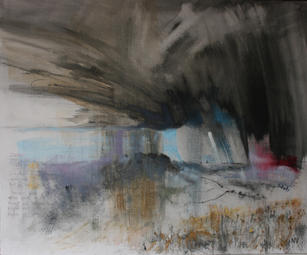 Storm passing Wolstonbury Hill looking. mixed media on canvas board