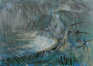 High Winds over Eype from West Cliff, Dorset 7x5 canvas board