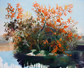 Autumn Ponds acrylic and oil on canvas board