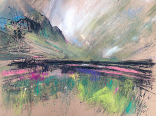 Traveling the A82 through Rannoch Moor A2 pastel and charcoal