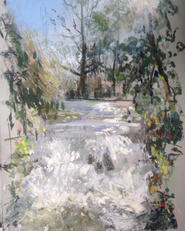 Waterfall, Grove Park A4 pastel