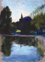 All Saints Church from Honeywood Museum, Carshalton A4 pastel