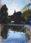 All Saints Church from Honeywood Museum, Carshalton A4 pastel