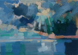 Summer Sunburst, Eype Beach 7x5 canvas board