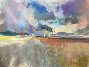 Crosby, Looking towards the Mersey and Liverpool docks. A3 pastel