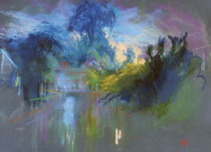 Carshalton Ponds (looking towards Honeywood) A4 pastel