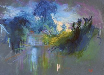 Carshalton Ponds (looking towards Honeywood) A4 pastel