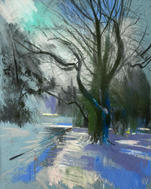 Winter walk, Grove Park Carshalton A3 pastel