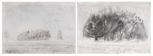 Lost in the wilderness-Oaks Park - winter - A2 double page Charcoal