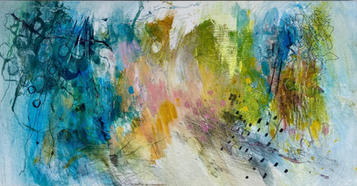 Abstract number 3: the Wandle trail. 38x21 acrylic, pencil and charcoal on board.