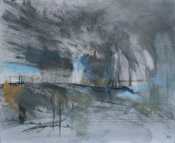 Storm Wolstonbury Hill looking towards mixed media on canvas board