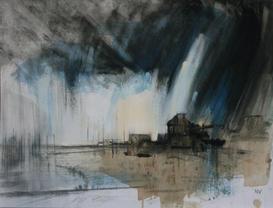 Rain Starting, The Cob, Lyme Regis mixed media on canvas board