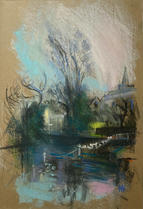 Cold afternoon, winter, across Carshalton Ponds