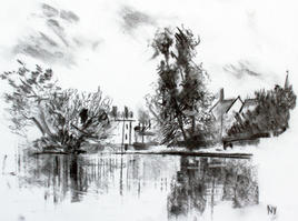 Sunny Late Spring Honeywood - A3 charcoal
