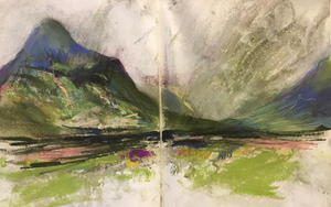 Glen Coe sketch, storm coming A4 pastel (double page)