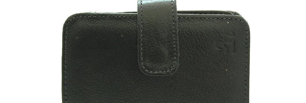 Carteira básica preta em couro
