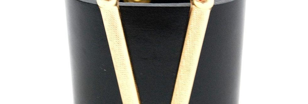 Bracelete de couro com metal preto