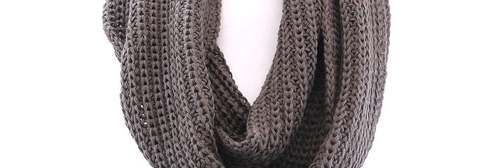 Lenço gola de trico cinza