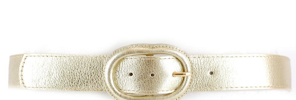 Cinto em couro com fivela oval