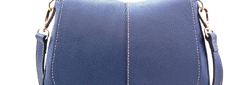 Bolsa marinho de couro com costura pesponto