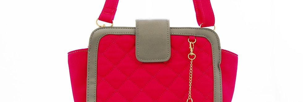 Bolsa pequena pink com costura quadriculada
