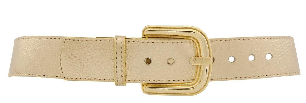 Cinto em couro ouro com fivela de metal