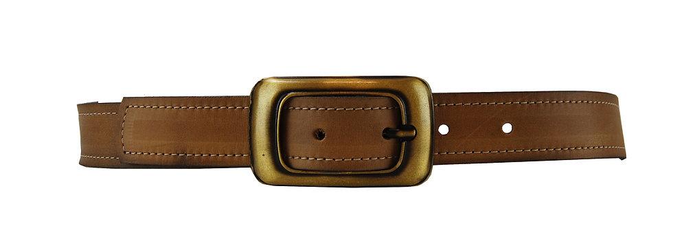 Cinto de couro atanado fivela ouro escovado