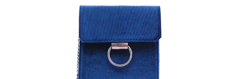 Bolsa de veludo com alça de corrente