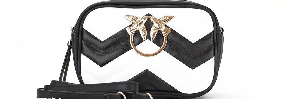 Bolsa pequena com pássaro de metal