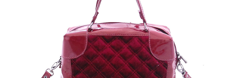 Bolsa maleta de veludo com verniz