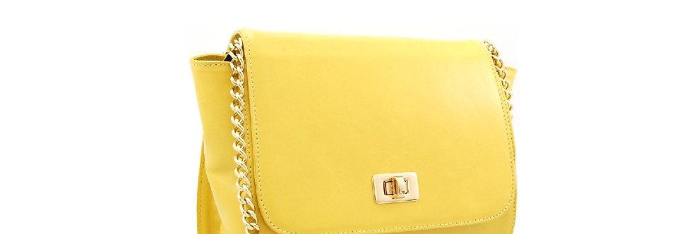Bolsa de couro com alça de corrente