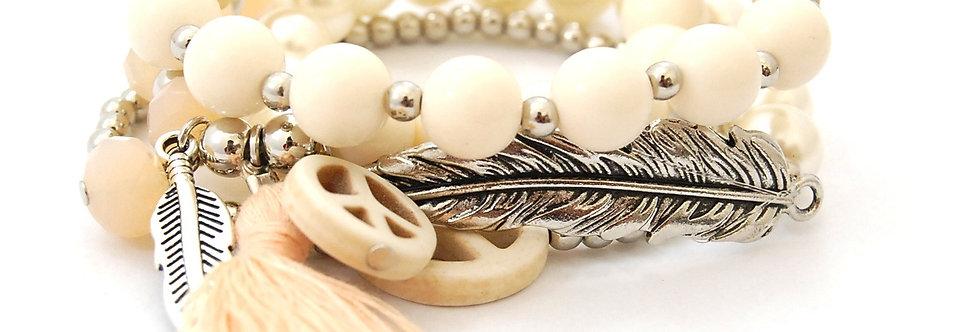 Conjunto de pulseira com pérola e pingentes