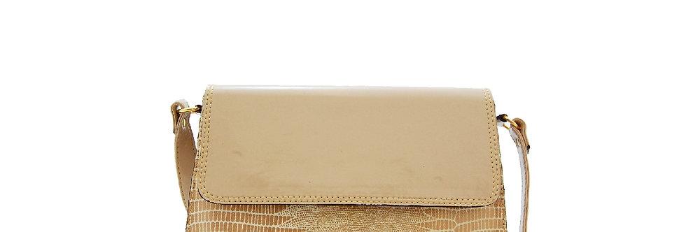 Bolsa de verniz com textura de cobra