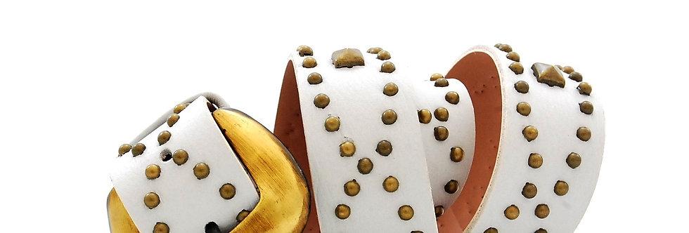 Cinto de couro marfim com fivela ouro velho