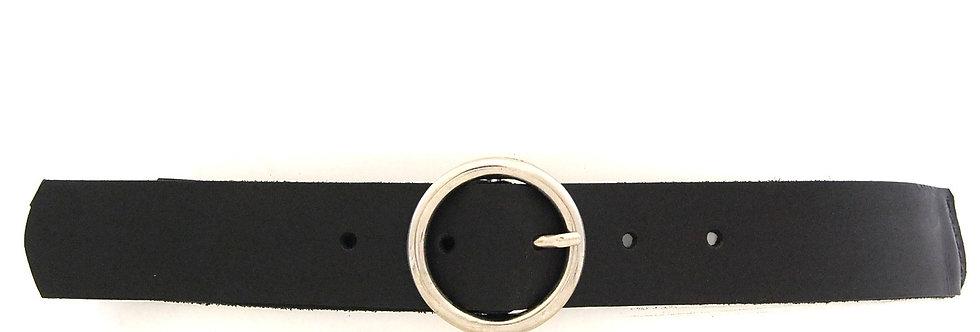 Cinto tressê em barbante com frente em couro preto com branco