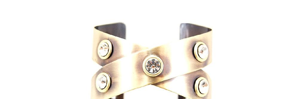 Bracelete em metal com pedra brilhante ouro velho