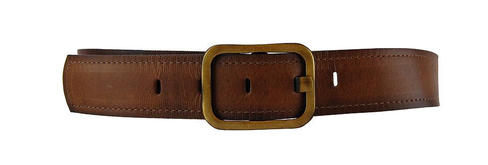 Cinto de couro atanado fivela quadrada