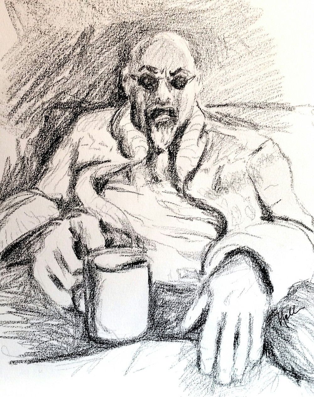 Drawing of old man, drawing of old man with coffee cup