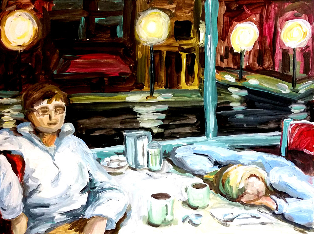 The Mayor of Coffee Town, painting of people in a coffee shop at night, coffee shop at night