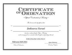 Certification of Ordination