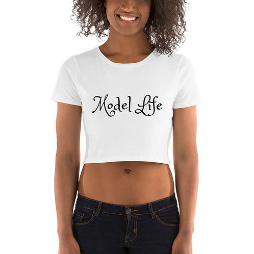 Model Life Women's Crop Tee White