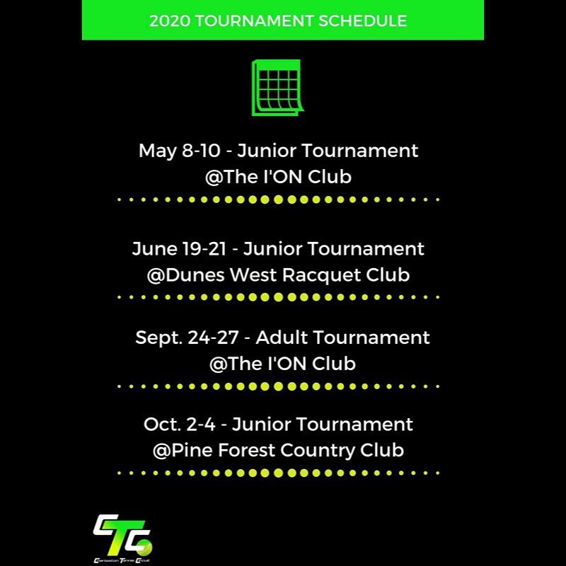 This is the CTC tournament schedule for juniors and adults in 2020.
