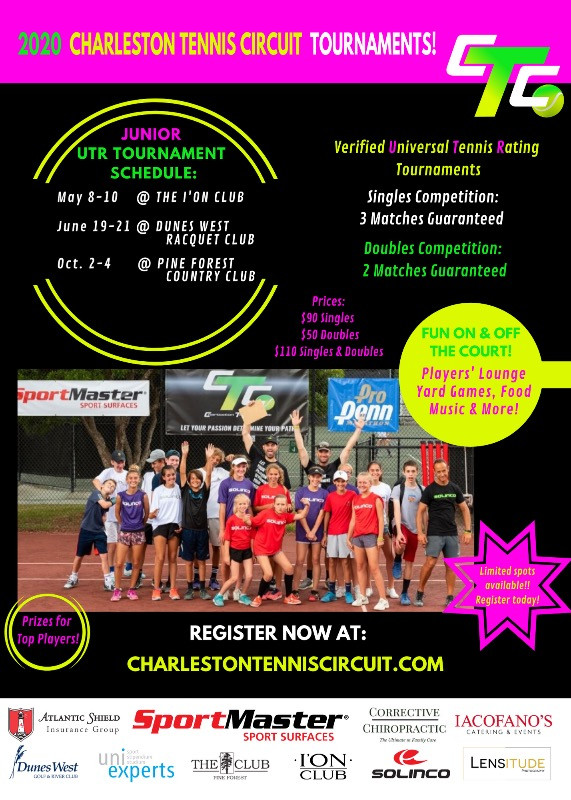 Overview of all CTC junior tennis tournaments hosted during the year of 2020