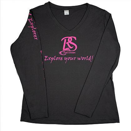 Ladies V-Neck Long Sleeve Grey & Pink