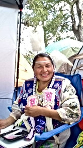Sewing at the Pow wow