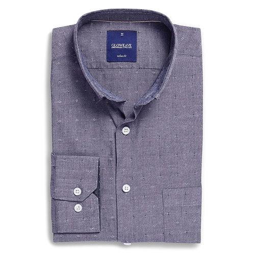 Mens Long Sleeve Spot Dobby Denim Shirt