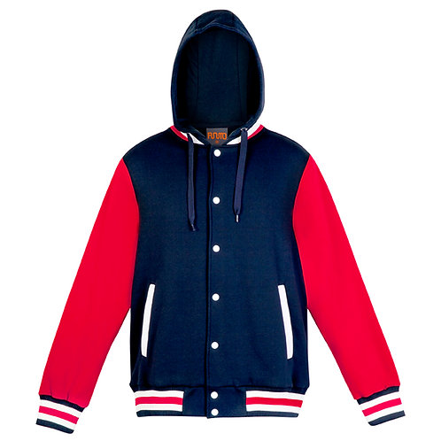 Mens Hooded Varsity Jacket