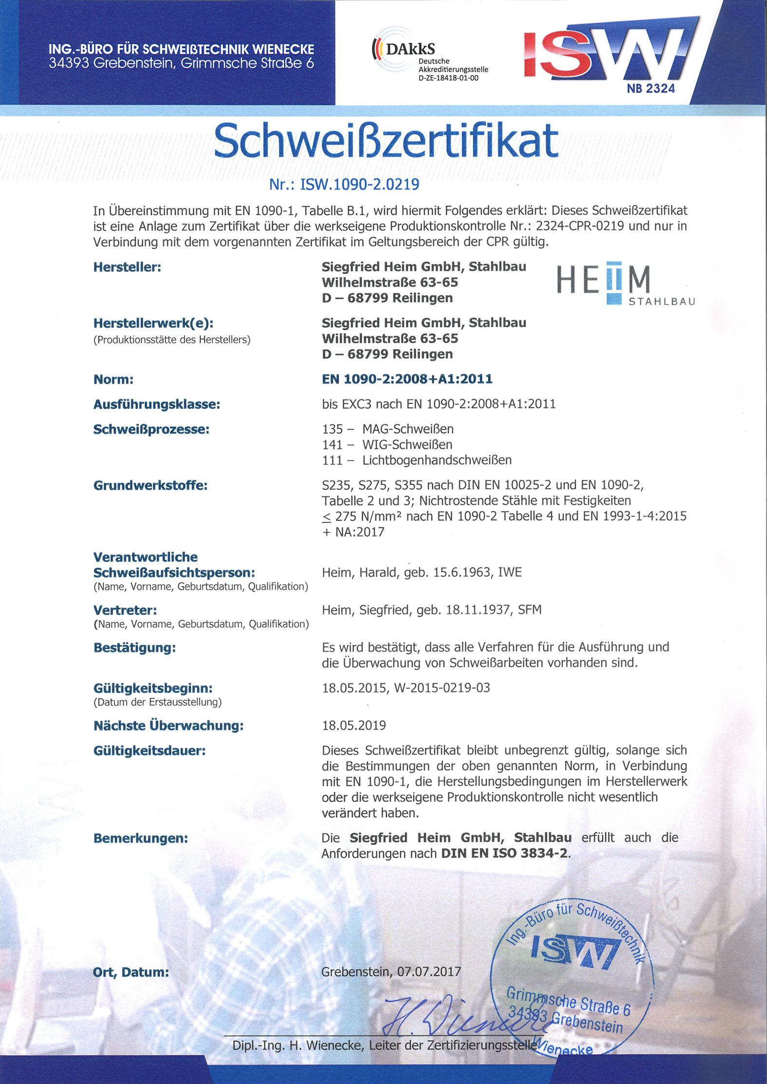 Schweisszertifikat - Bauunternehmen