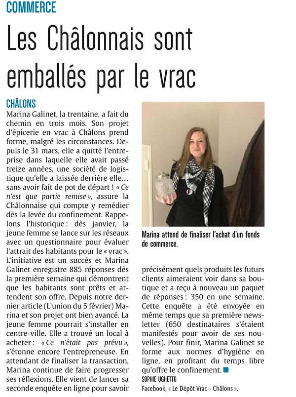 """Article L'Union """"Les Châlonnais emballés par le vrac"""""""
