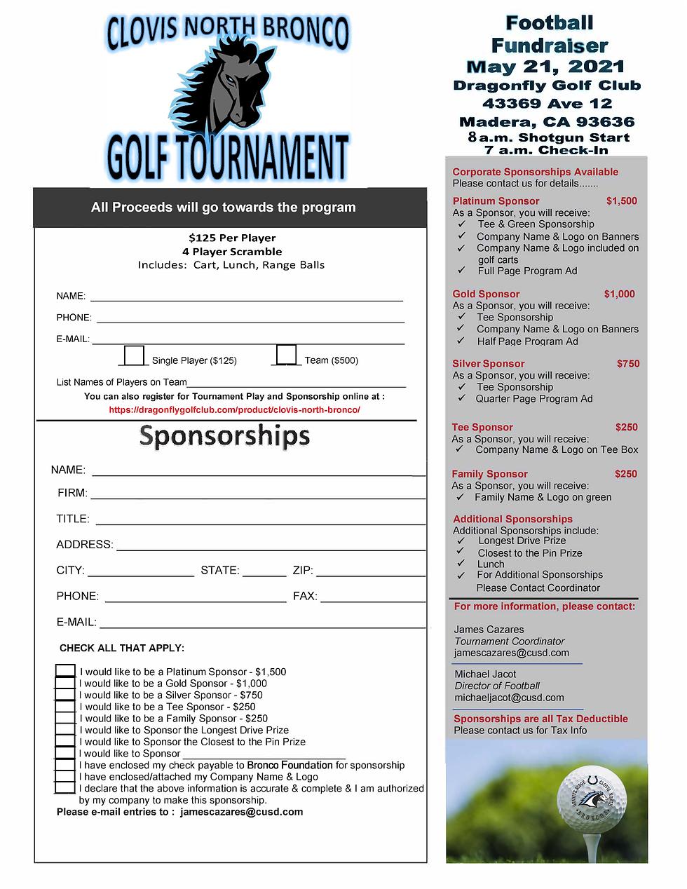 2021 Bronco Football Golf Tournament Reg